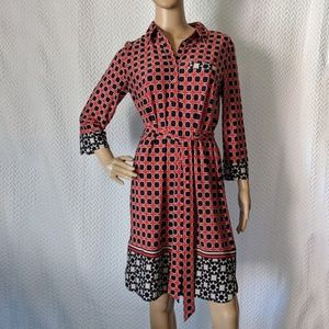 Donna Morgan Graphic A-line dress with tie belt